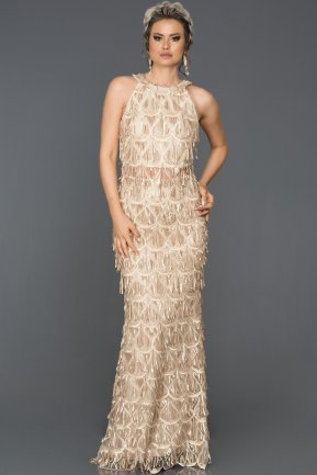 Long Gold Evening Dress AB7497