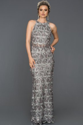 Long Grey Evening Dress AB7497