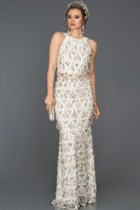 Long Silver Evening Dress AB7497