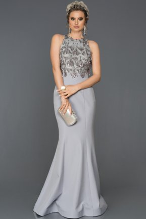 Long Grey Mermaid Prom Dress AB7498