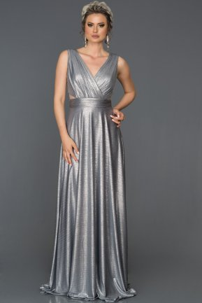 Long Silver Prom Gown AB7527