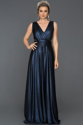 Long Navy Blue Prom Gown ABU203