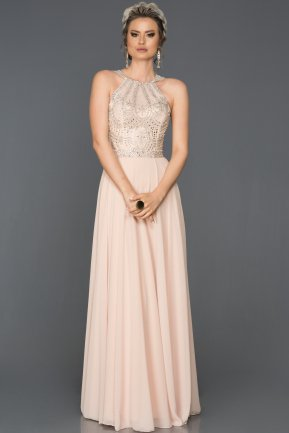 Salmon Long Evening Dress ABU195