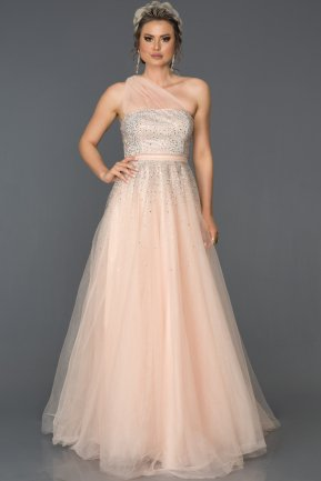 Long Salmon Engagement Dress AB4415