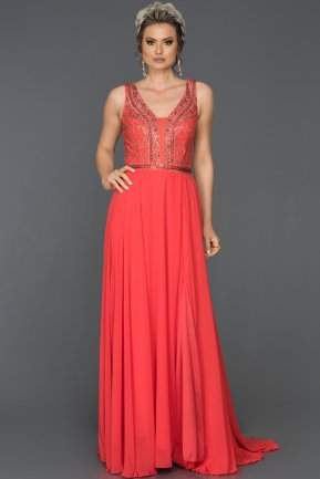 Long Pomegranate Flower Mermaid Evening Dress AB4498