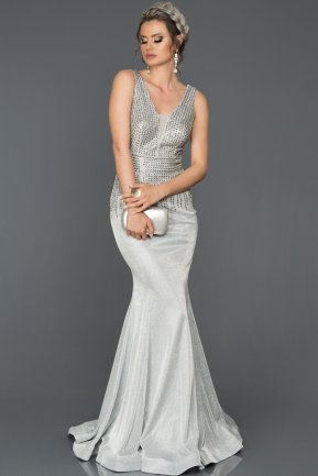 Silver Long Mermaid Prom Dress AB4557