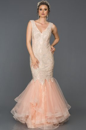 Long Salmon Mermaid Prom Dress AB307