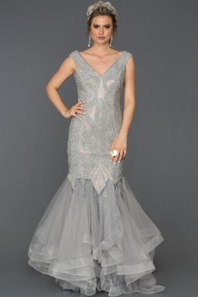Long Grey Mermaid Prom Dress AB307