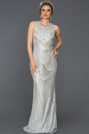 Long Silver Engagement Dress AB312