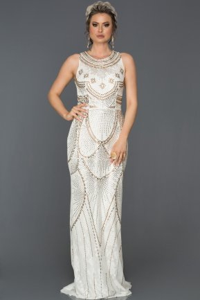 Long White Engagement Dress AB312