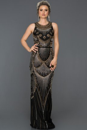 Long Black Engagement Dress AB312