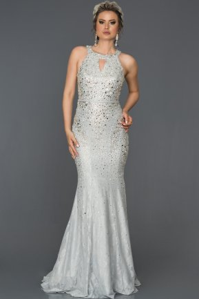 Long Silver Mermaid Prom Dress AB316