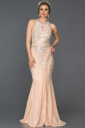 Long Salmon Mermaid Prom Dress AB316