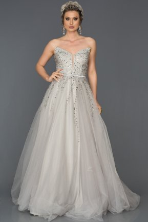 Long Silver Engagement Dress AB314
