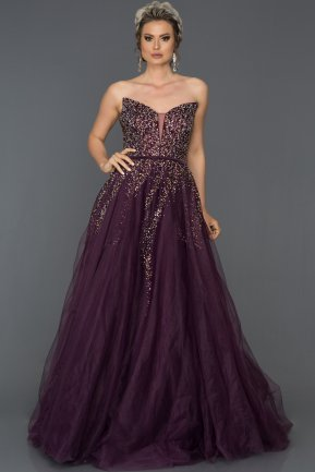 Long Purple Engagement Dress ABU288