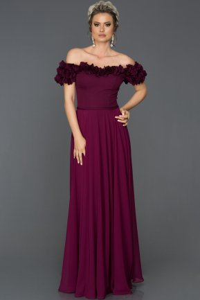 Long Plum Evening Dress AB2832
