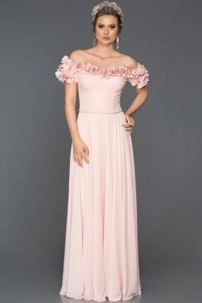 Long Powder Color Evening Dress ABU074