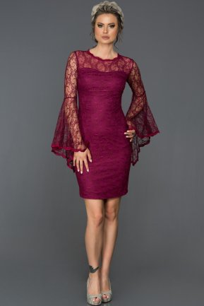 Short Plum Evening Dress L8009