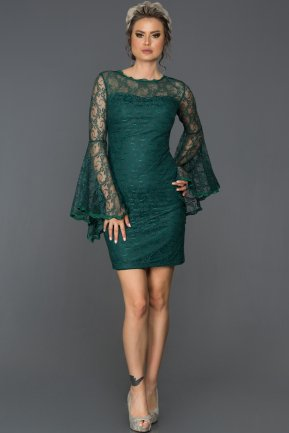 Short Emerald Green Evening Dress L8009