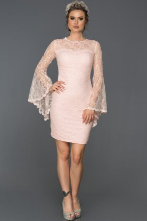 Short Powder Color Evening Dress L8009