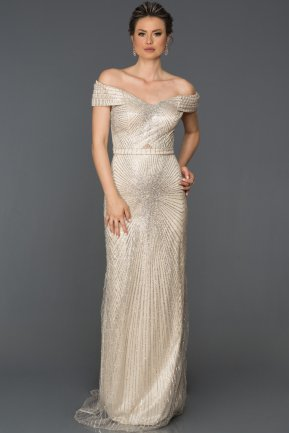 Long Beige Engagement Dress AB2631