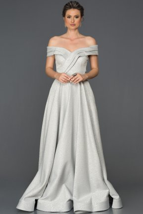 Long Grey Engagement Dress AB4588