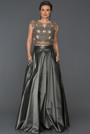 Two Antrasit Piece Evening Dress AB1132