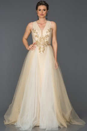 Long Gold Engagement Dress AB6102
