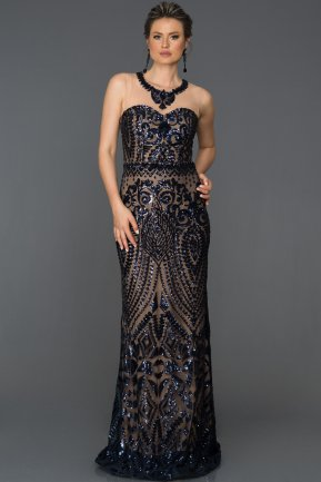 Long Navy Blue Evening Dress AB7025
