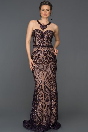 Long Purple Evening Dress AB7025