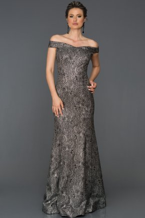 Long Black-Silver Engagement Dress AB7060
