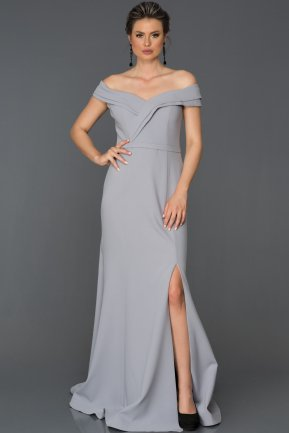 Long Grey Prom Gown AB7115