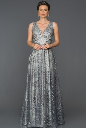 Long Grey Engagement Dress AB7130