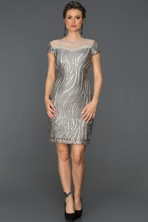 Short Grey Invitation Dress AB98921