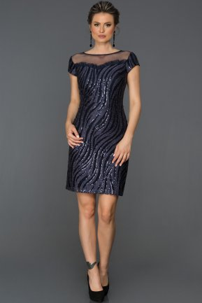 Short Navy Blue Invitation Dress AB98921