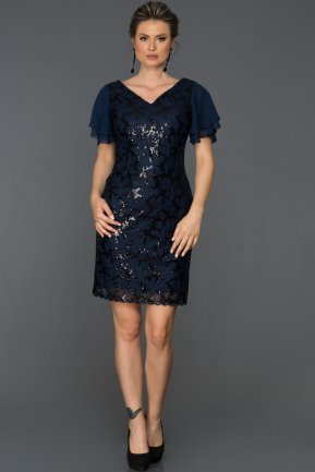 Short Navy Blue Evening Dress AB98854
