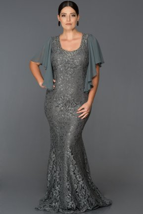 Long Anthracite Oversized Mermaid Evening Dress ABU474