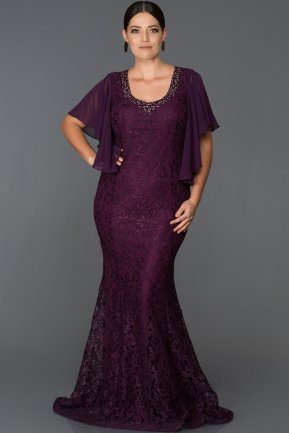 Long Plum Oversized Mermaid Evening Dress ABU474