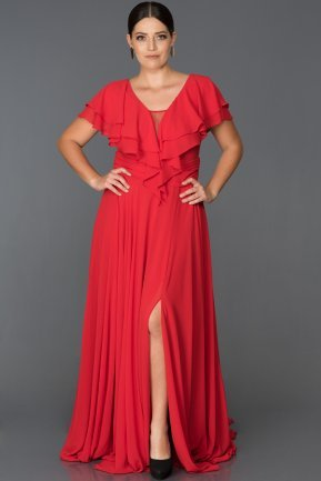 Long Red Plus Size Evening Dress AB4519