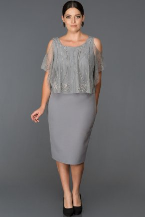 Short Grey Plus Size Evening Dress ABK105