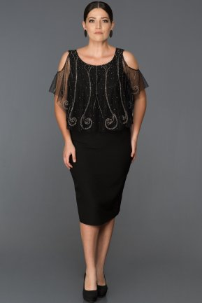 Short Black Plus Size Evening Dress AB7533