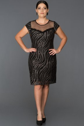 Short Black Plus Size Evening Dress ABK011
