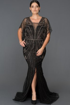 Long Black Plus Size Evening Dress ABU075