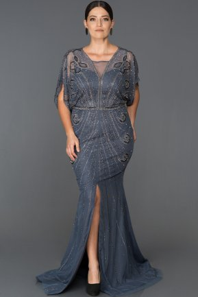 Long İndigo Plus Size Evening Dress AB430