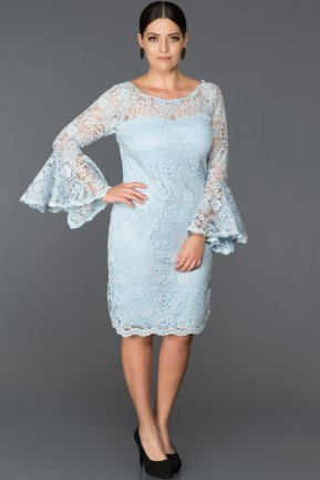 Short Ice Blue Plus Size Dress ABK022
