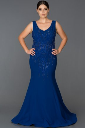 Long Sax Blue Plus Size Evening Dress AB7061
