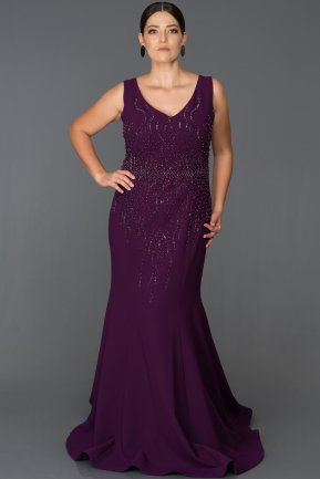 Long Purple Plus Size Evening Dress ABU062