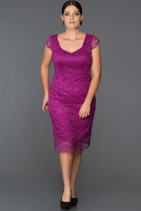 Short Purple Oversized Evening Dress AB209