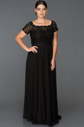 Long Black Plus Size Evening Dress ABU146