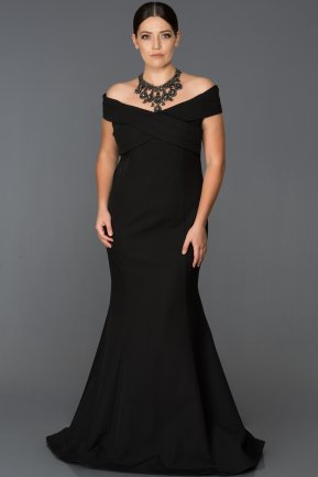 Long Black Oversized Evening Dress ABU077